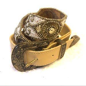 Anthropologie Boho Beaded Embellished Belt Size S